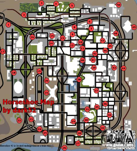 Mapa de las herraduras para GTA San Andreas