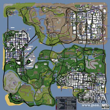 Mapa de armas, armaduras, placas de la policía, regalos para GTA San Andreas