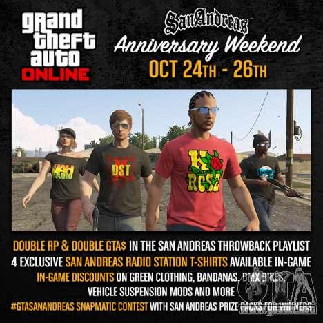 el fin de Semana en San Andreas: premios y concursos