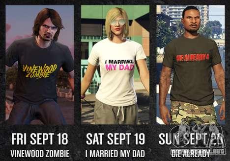 GTA Online Freemode Eventos de fin de Semana exclusivo de T-shirts