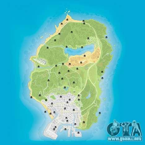 Mapa de los bancos en GTA 5