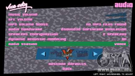 El menú en el radio de GTA Vice City
