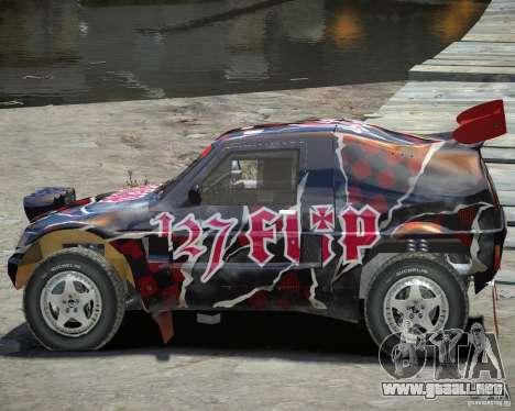 Mitsubishi Pajero Proto Dakar vinilo 3 para GTA 4 vista interior