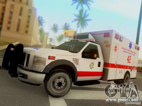 Ford F350 Super Duty Chicago Fire Department EMS para GTA San Andreas left