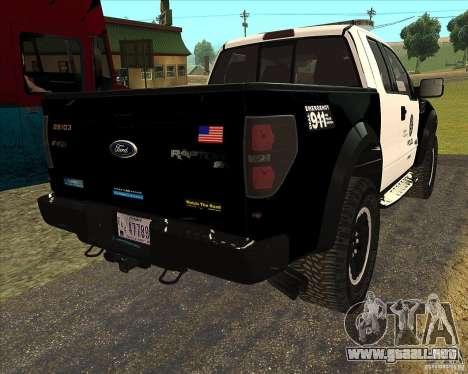 Ford Raptor Police para GTA San Andreas vista hacia atrás