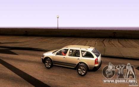 Skoda Octavia Scout para GTA San Andreas vista posterior izquierda
