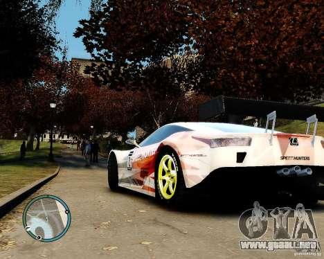 Lexus LFA Speedhunters Edition para GTA 4 Vista posterior izquierda