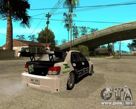 Subaru Impreza Elemental Attack para GTA San Andreas vista posterior izquierda