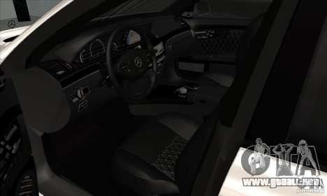 Mercedes-Benz S65 AMG para GTA San Andreas vista hacia atrás