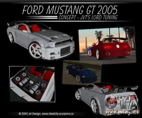 Ford Mustang GT 2005 Concept JVT LORD TUNING para visión interna GTA San Andreas