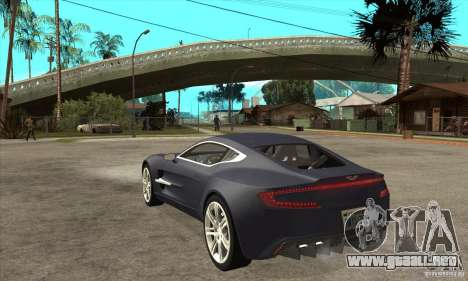 Aston Martin One-77 para GTA San Andreas vista posterior izquierda