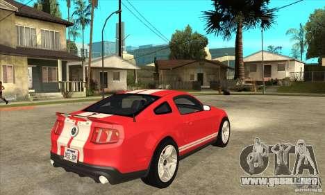 Ford Mustang Shelby GT500 2011 para GTA San Andreas vista hacia atrás