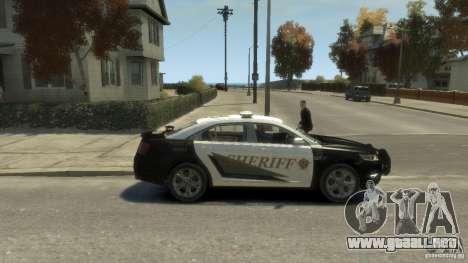 Ford Taurus Sheriff 2010 para GTA 4 Vista posterior izquierda