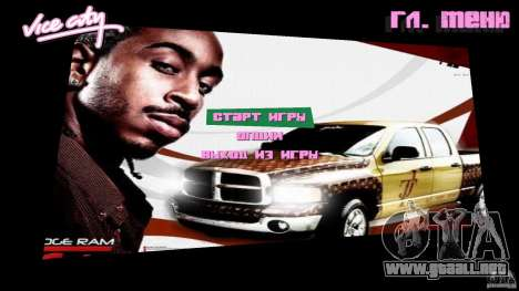 2 Fast 2 Furious Menu Ludacris para GTA Vice City
