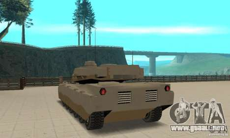 Nel cojo el tanque Rhino para GTA San Andreas vista posterior izquierda