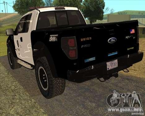 Ford Raptor Police para la visión correcta GTA San Andreas