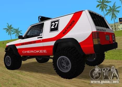 Jeep Cherokee 1984 Sandking para GTA Vice City vista lateral izquierdo