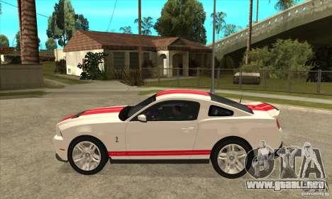 Ford Mustang Shelby GT500 2011 para GTA San Andreas vista posterior izquierda