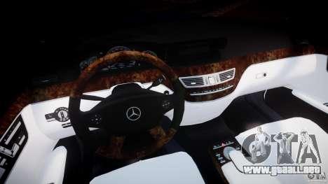 Mercedes-Benz S600 w221 para GTA 4 vista hacia atrás