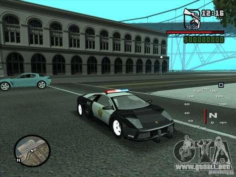 Lamborghini Murcielago Police para vista lateral GTA San Andreas