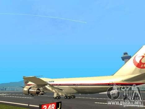 Boeing 747-100 Japan Airlines para GTA San Andreas vista posterior izquierda