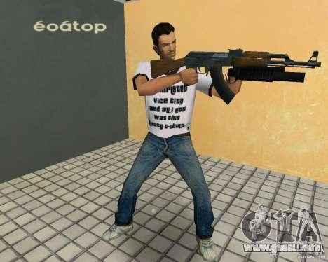 AK-47 con un grenade launcher М203 para GTA Vice City sucesivamente de pantalla