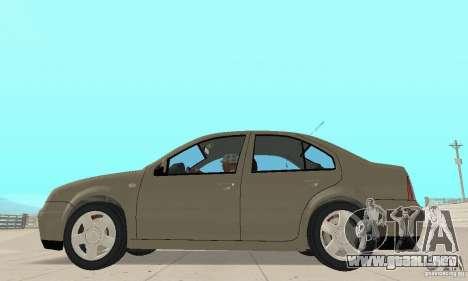 Volkswagen Bora Stock para GTA San Andreas vista posterior izquierda