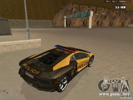 Lamborghini Aventador LP700-4 Police para la visión correcta GTA San Andreas