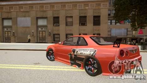 Nissan Skyline GT-R R34 Underground Style para GTA 4 Vista posterior izquierda