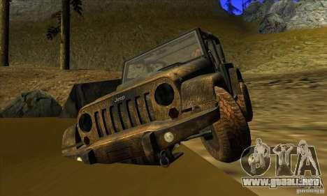 Jeep Wrangler para GTA San Andreas vista hacia atrás