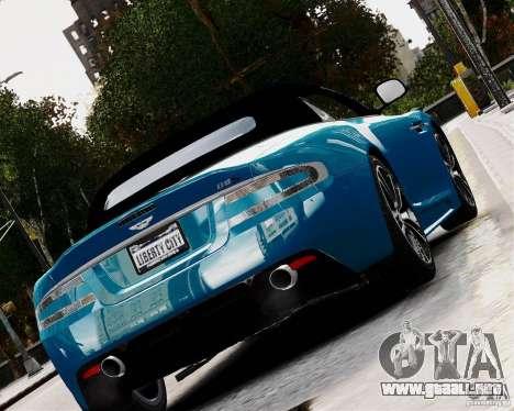 Aston Martin DBS Volante 2010 v1.5 Diamond para GTA 4 Vista posterior izquierda