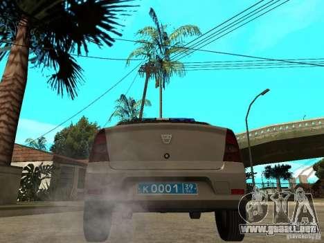 Dacia Logan Police para GTA San Andreas vista posterior izquierda