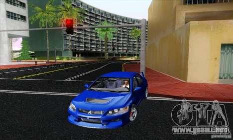 Mitsubishi Lancer Evolution 9 MR Edition para GTA San Andreas vista posterior izquierda