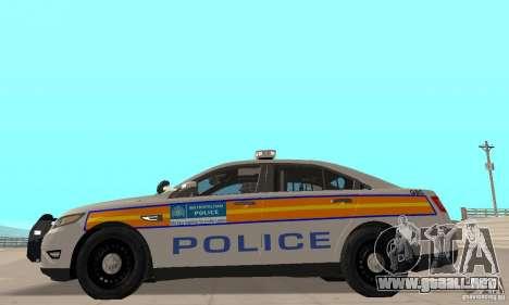 Ford Taurus 2011 Metropolitan Police Car para GTA San Andreas vista posterior izquierda