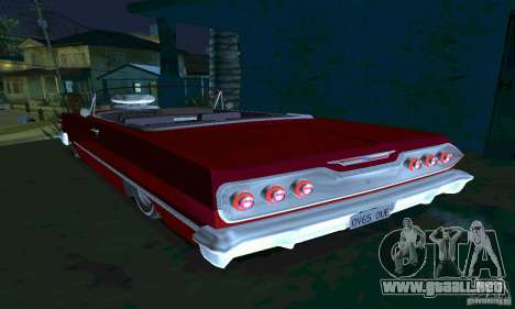 Chevrolet Impala 1963 Lowrider Charged para GTA San Andreas vista posterior izquierda