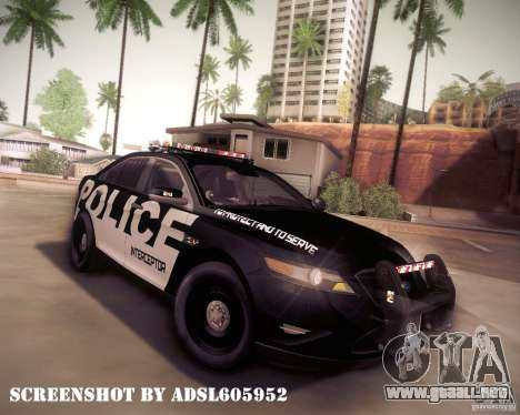 Ford Taurus Police Interceptor 2011 para la vista superior GTA San Andreas