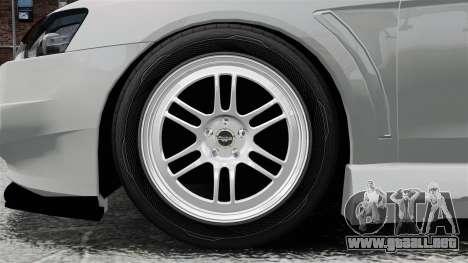 Mitsubishi Lancer Evolution X ToneBee Designs para GTA 4 vista hacia atrás