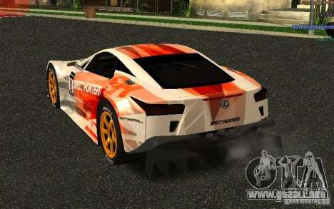 Lexus LFA Speedhunters Edition para GTA San Andreas vista posterior izquierda