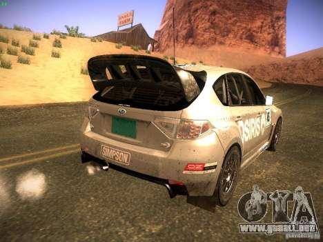 Subaru Impreza Gravel Rally para visión interna GTA San Andreas
