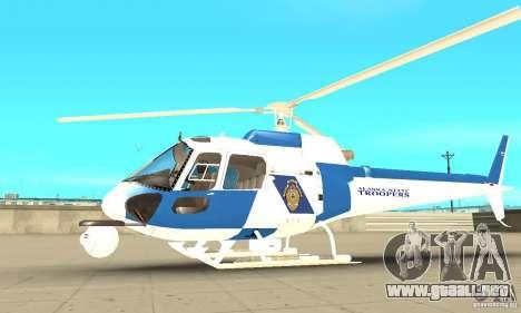 AS-350 Police para GTA San Andreas vista posterior izquierda