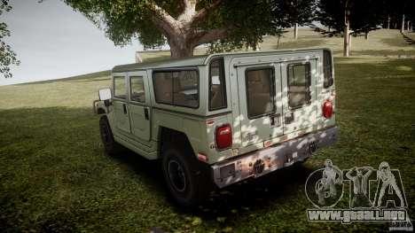 Hummer H1 Original para GTA 4 Vista posterior izquierda