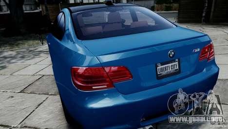 BMW M3 E92 ZCP 2012 para GTA 4 vista hacia atrás