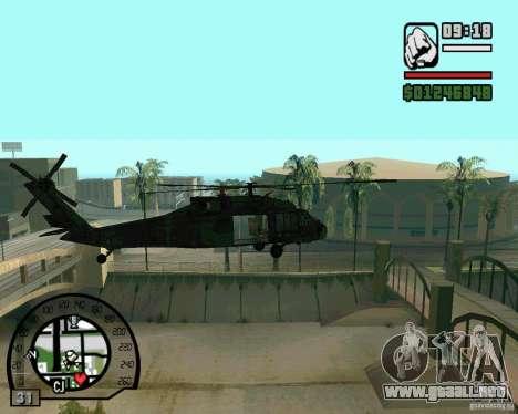 Blackhawk UH60 Heli para GTA San Andreas vista posterior izquierda