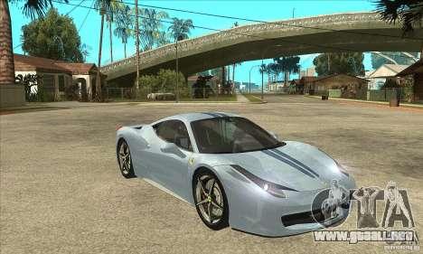Ferrari 458 Italia 2010 v2.0 para visión interna GTA San Andreas