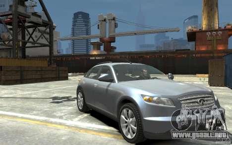 Infiniti FX45 para GTA 4 vista hacia atrás