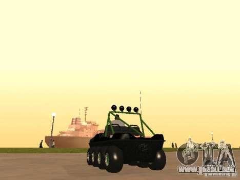 Vehículo todo terreno Argo Avenger para GTA San Andreas vista posterior izquierda
