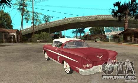 Chevrolet Impala 1958 para GTA San Andreas vista posterior izquierda