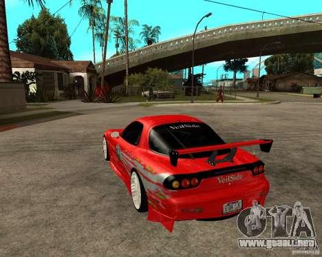 Mazda RX7 FnF para GTA San Andreas vista posterior izquierda