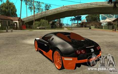 Bugatti Veyron Super Sport 2011 para GTA San Andreas vista posterior izquierda