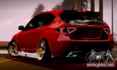 Subaru Impreza WRX Camber para visión interna GTA San Andreas
